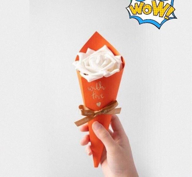50 PC naranja conos de helado favores de la boda del sostenedor de caramelo Cajas sorteos Partido Bolsita Caja Bomboniera chocolate caja de regalo # 5Jje