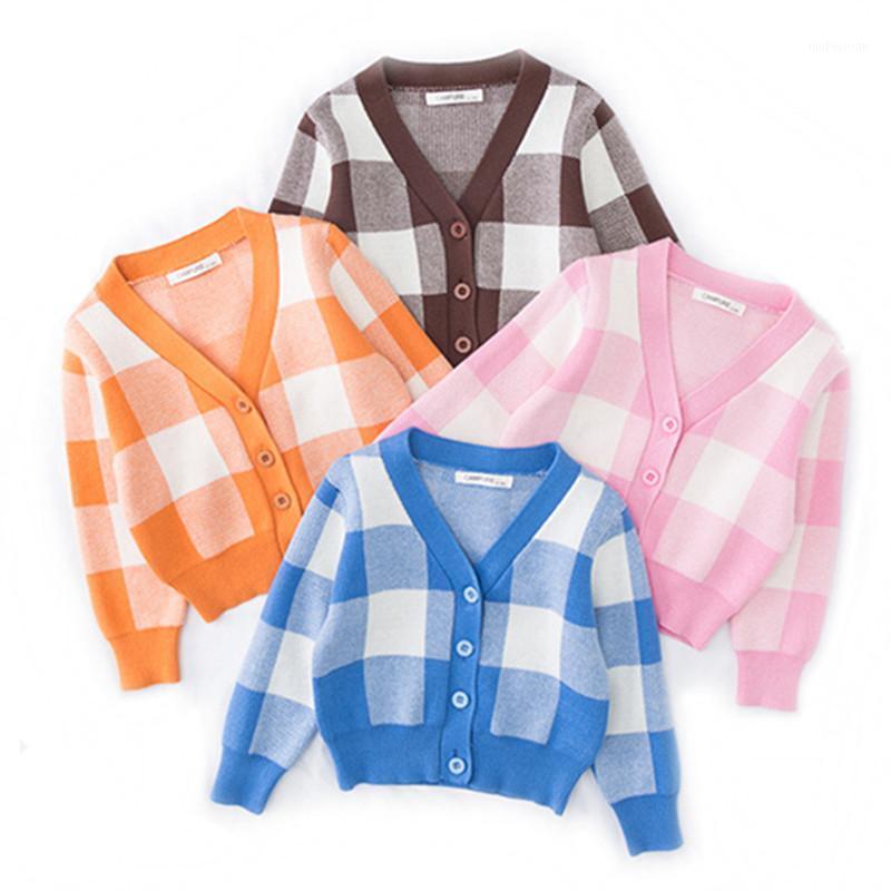 2020 Erkek Bebek Kız Ceket Yürüyor Giysileri Izgara Örgü Hırka Çocuklar Pamuk Ceketler Ceket Bebek Kız Erkek Hırka1