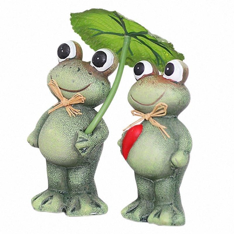 2pcs Creative résine Frog Craft 3D Figurine Home Office Tabletop Décor cadeau Jardin Cour Couple Frog Modèle Décoration Accesso l6pa #