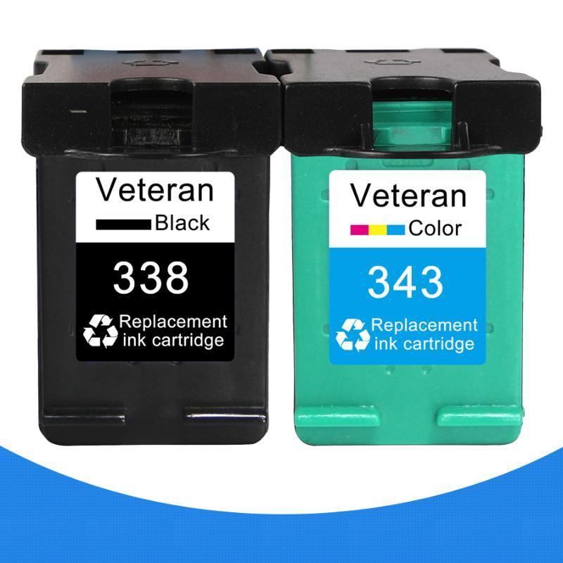 Veteran 338 343 XL Mürekkep Kartuşu Değiştirme için 338 343 için Deskjet 5740 6520 PSC 1507 1510 Photosmart 8150 460C
