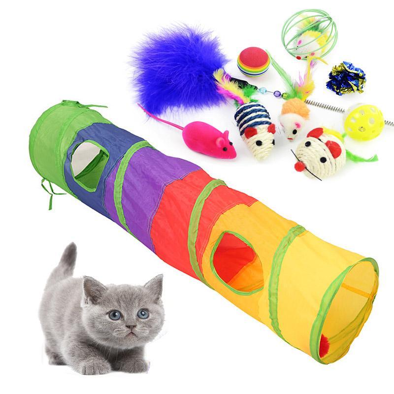 Jouets pour les chats colorés Pet Kit réductibles Tunnel 2 trous Jouer Tubes Boules de plumes Souris Forme Pet Kitten Cat Supplies Interactive