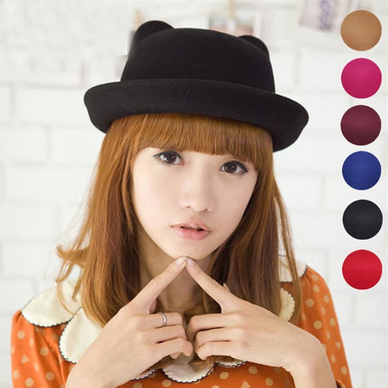HT1207 высокого качества весна осень зима шерсть фетровые шляпы Женщины дьявола Fedora шляпы Cat Ear Bowler Caps Твердая Черный Красный женщин