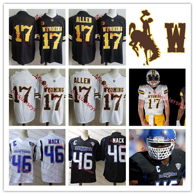 Mens NCAA Búfalo Bulls # 46 Khalil Mack Football Jersey costurado # 17 Josh Allen Wyoming Cowboys Football Jersey S-3XL