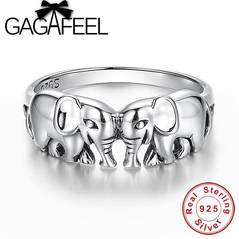 GAGAFEEL 100% en argent sterling Anneaux fin Propice éléphant Anneaux de bijoux pour femmes Bagues Finger Thai Sliver Charms Dropship Y200918