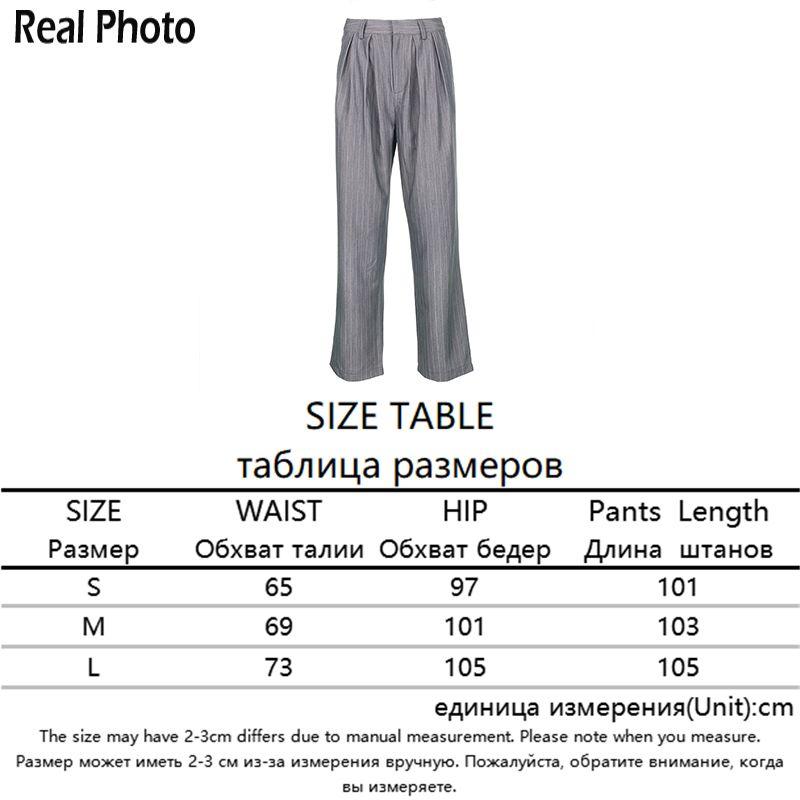 Rapwriter High Waist White Striped Pants Suit Pants Women Streetwear Straight Trousers harajuku Loose Gray Pants Pockets 200930