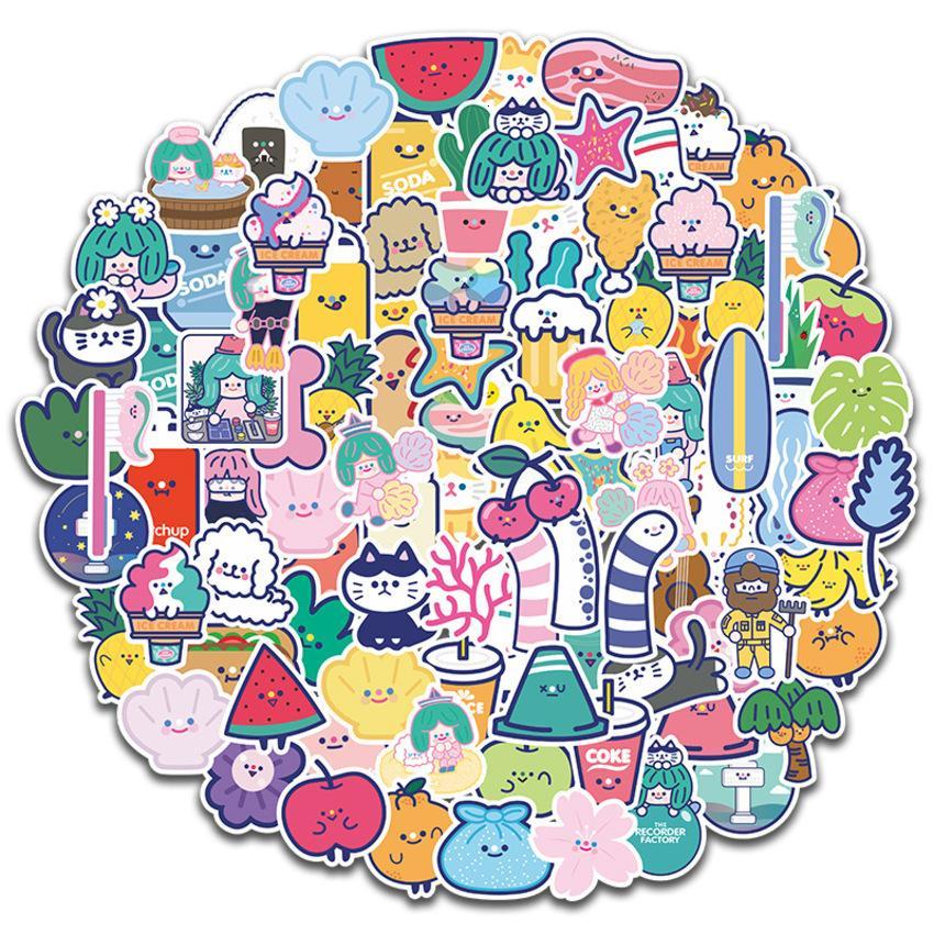 Adorável papelaria menina coração sorriso rosto impermeável telefone celular adesivo caderno capacete adesivo pequeno fresco 100 peças t1za