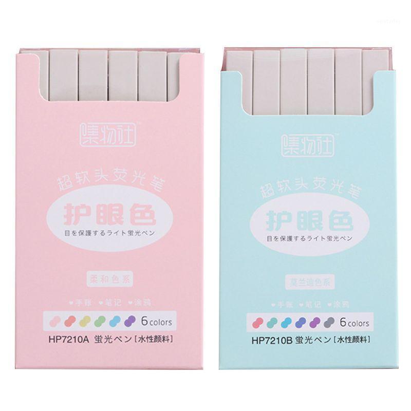 Highlighters 6PCS سوبر لينة تمييز أقلصات أقلام مجموعة حبر المياه موراندي الباستيل اللون dxab1