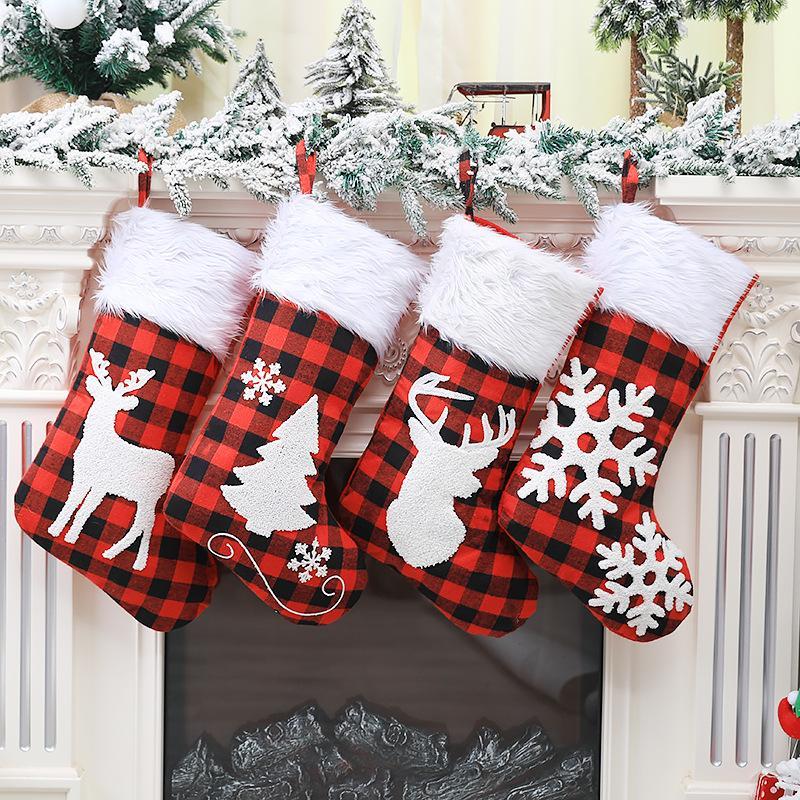 Weihnachten Plaid Print Strumpf Socken Rot Schwarz Plaid-Süßigkeit-Geschenk-Taschen-Weihnachtsbaum-hängende Verzierung des neuen Jahres Weihnachtsbaum Dekor VT1727