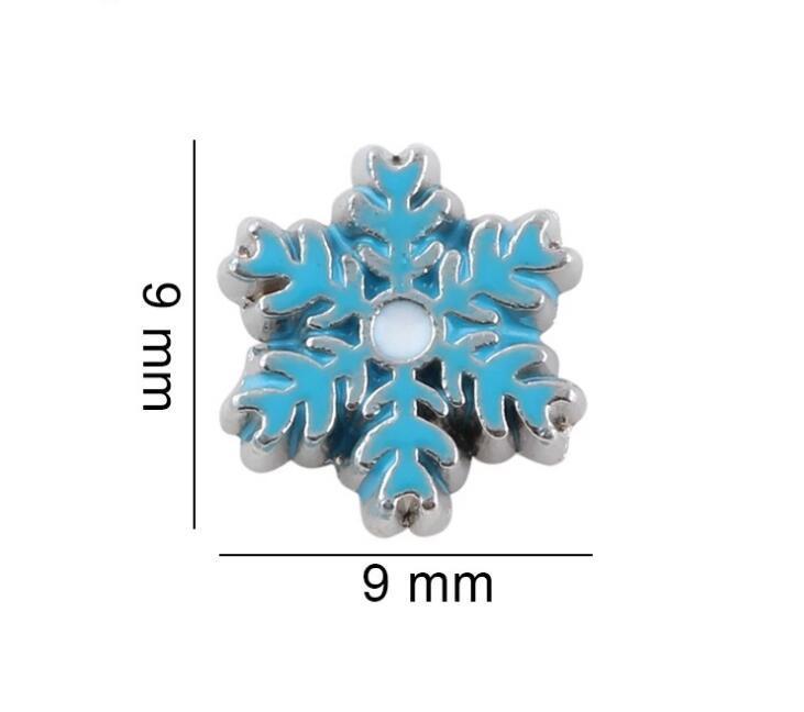 20pcs / lot Bleu Snowflake Floant Floating Charms Fit pour la mémoire Collier Magnetic Magnet Collier Faire des bijoux de mode