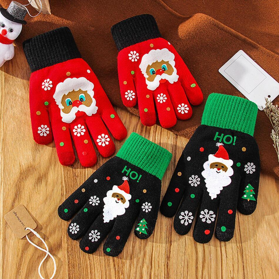 Noël Gant Plein doigt écran tactile flocon de neige Bonneterie Gants chaud unisexe kniting flocon de neige pour enfants adultes Five Fingers Gants LJJP640