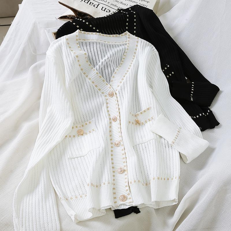 Autunno Elagant cappotti donne scava fuori Cardigan ritagliata Knit capote maglione cardigan Vintage
