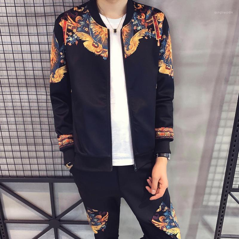 TrainingsPak Heren Mens Impresso Jaqueta Slim Terno Nova Moda Cardigan Sports Terno Casaco Outono Tracksuit para Homens Moda Hombre 20201
