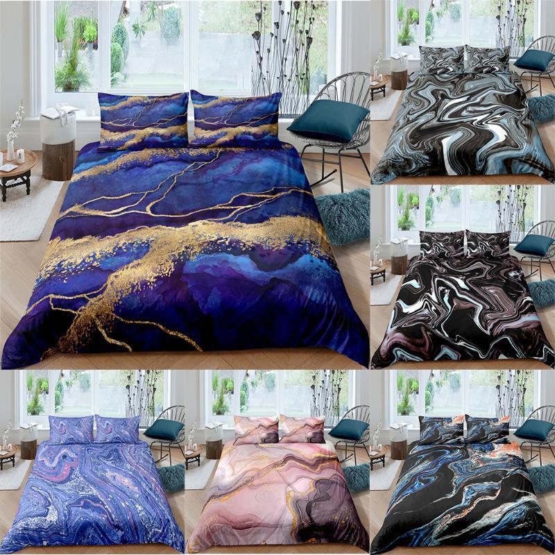 ZEIMON Marble Geometric 3D Bedding Set Modern Duvet Cover Bedding King Queen Sizes Bed Set Printed Home Textile Bed Linen