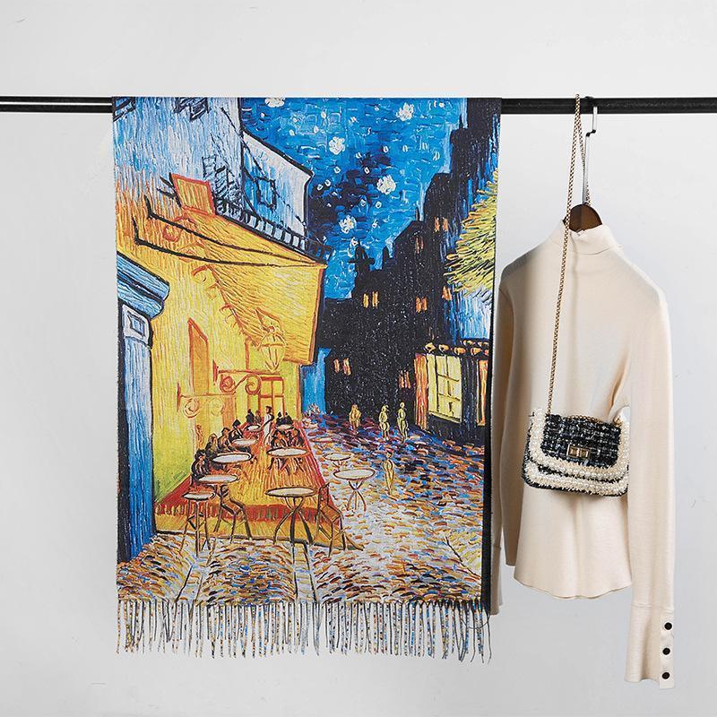 Marca Yiliana Pintura al óleo Jarrón Cashmere Bufanda Floral Estampado Moda Mujeres Mantón grueso con tassels1