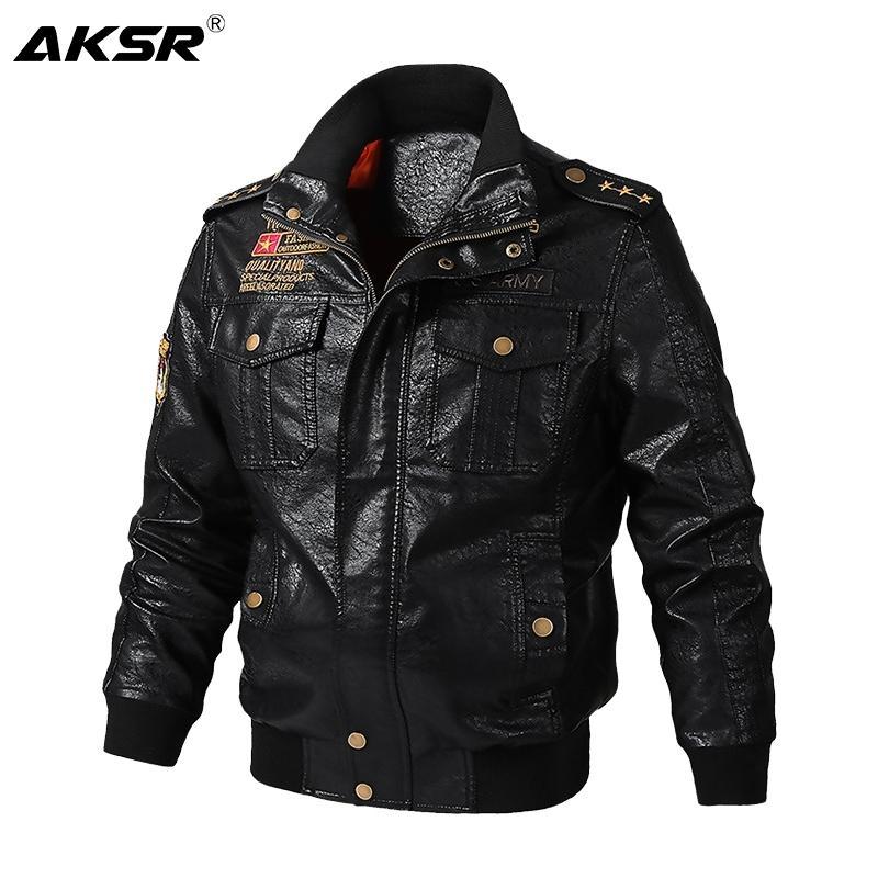 Aksr outono e jaqueta de couro masculina de inverno motocicleta grossa casaco quente de alta qualidade Outerwear Faux Fur Masculino Jackets Y201026