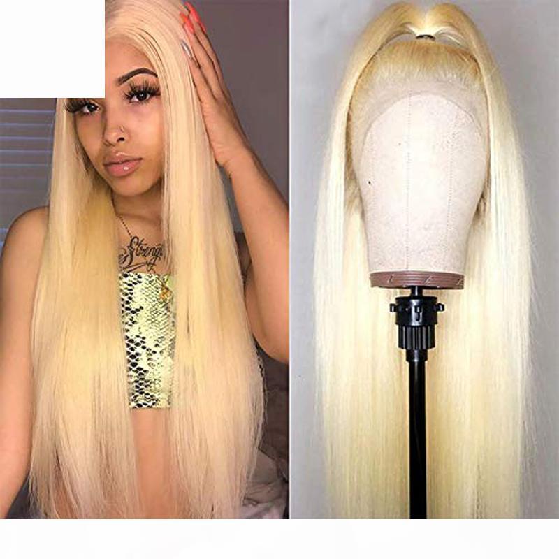 Perruque de cheveux humains pleine dentelle blonde 613 long droite peruvian Remy Remy sans gluence transparente en dentelle avant perruque blonde blonde prépurée avec des cheveux de bébé