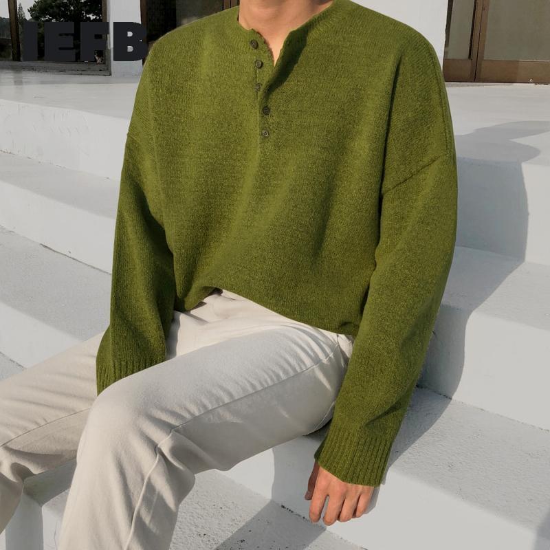IEFB Krean scollo a V maglione da uomo sciolto kinted top alla moda autunno inverno mezzo pulsante kintwear vestiti vintage per maschio 9Y4568