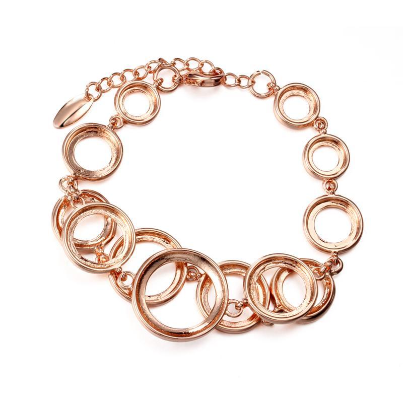 Розовое золото кругов Браслет браслеты для женщин Стразы Асфальтовая Double Layer Круглый Женский Свадебные украшения