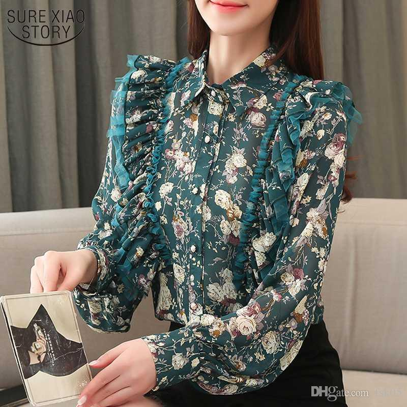 Осень Rauffled Footern Длинный рукав Шифон Блузки Мода Офис Цветочный кардиган Женщины Рубашки для Blusas KG-1028