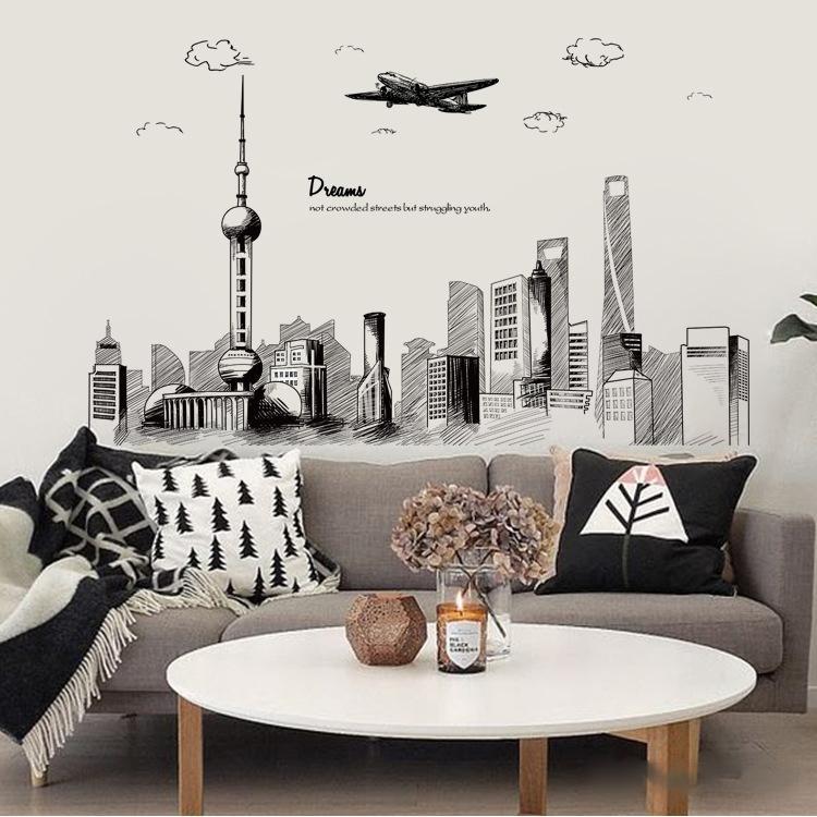 Ins Stil Salon Yatak odası Başucu TV Arkaplan Duvar Sticker Dış Ticaret İl Kroki Kroki Duvar Sticker Dekorasyon