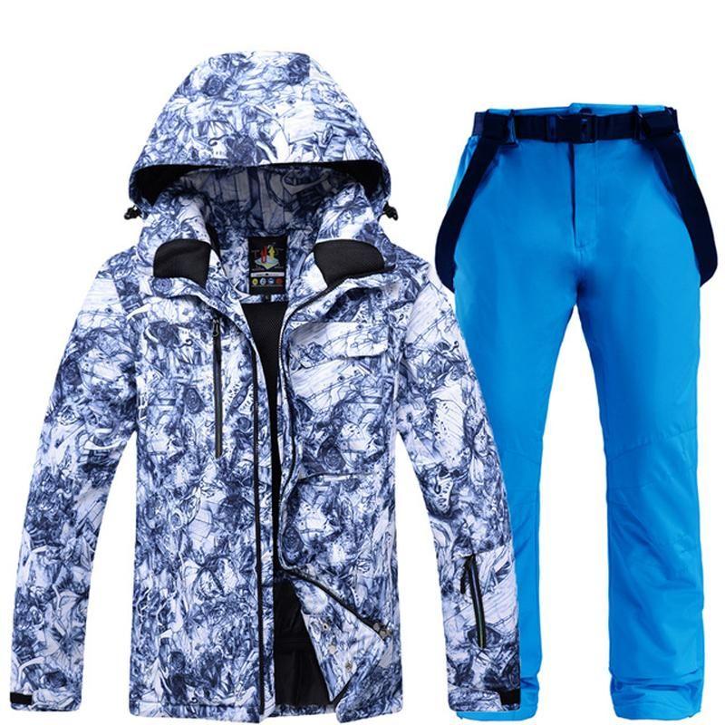 Лыжные лыжные куртки -30 мужской снежный костюм наборы сноуборда одежда водонепроницаемый ветрозащитный зимний костюм носить лыжные и нагрудники ремень штанги