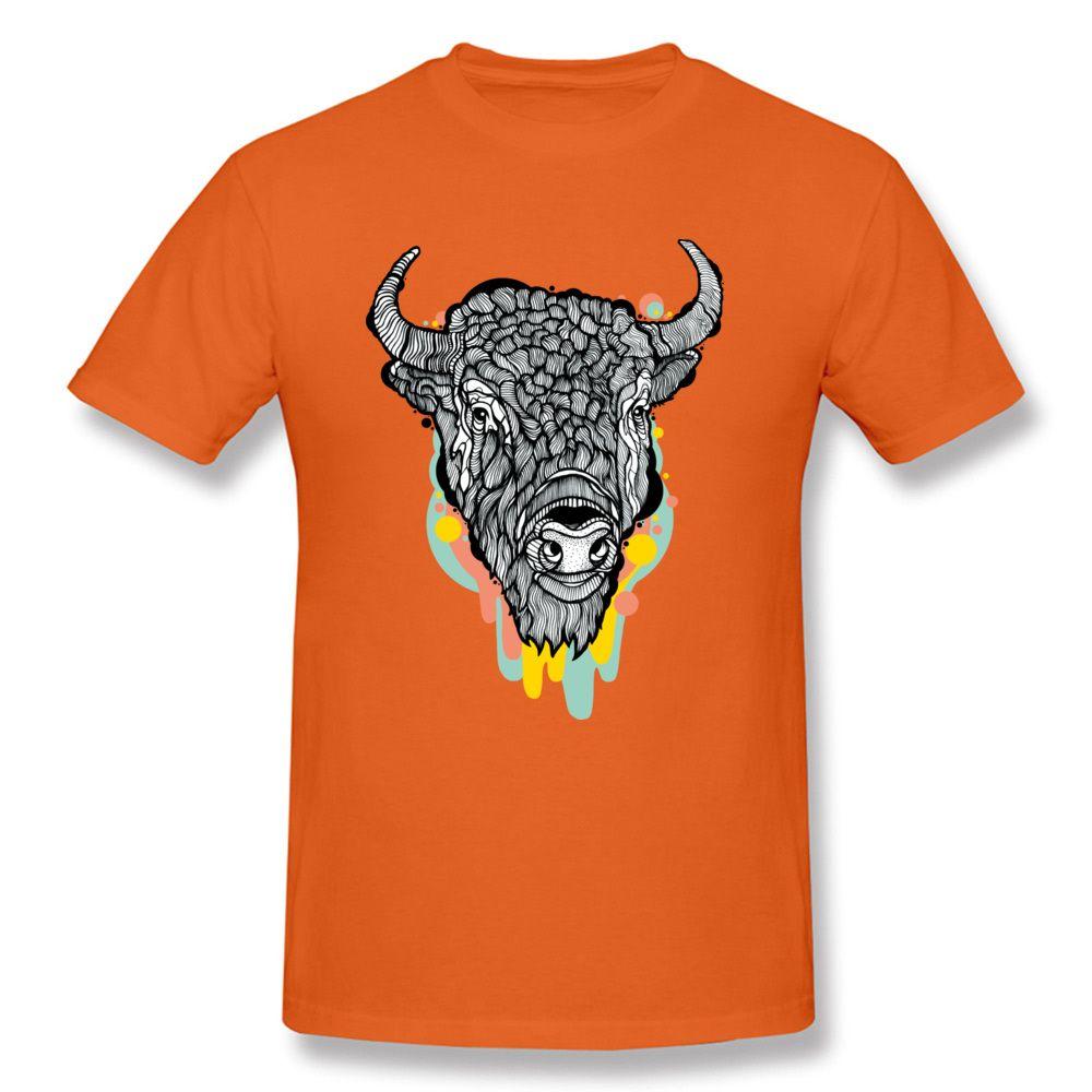 Bison Aquarelle Peinture orange personnalisée USA Europe Taille Homme en gros personnalisés propres Les designers hoodie design T-shirts T-shirts sweat-shirt