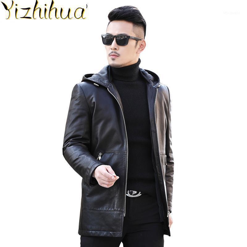 Мужская кожаная из искусственного азазеля натуральная куртка осень зима длиннее пальто мужчин козлика вниз с капюшоном шляпа Chaquea Cuero Hombre F-8586 KJ24351
