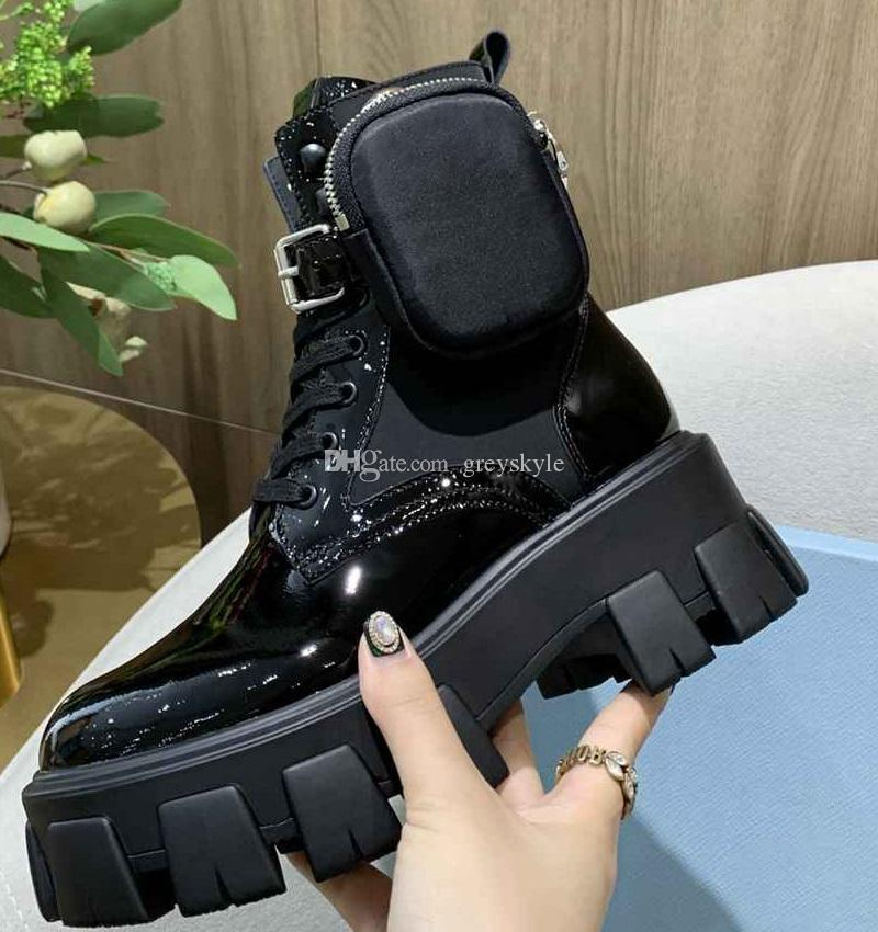 Brand Design Women Cow leather Flat Platform Ankle Martin Boots fashion 6cm Thick Winter Snow Boots Mini Purse Working Tooling Boots,35-41