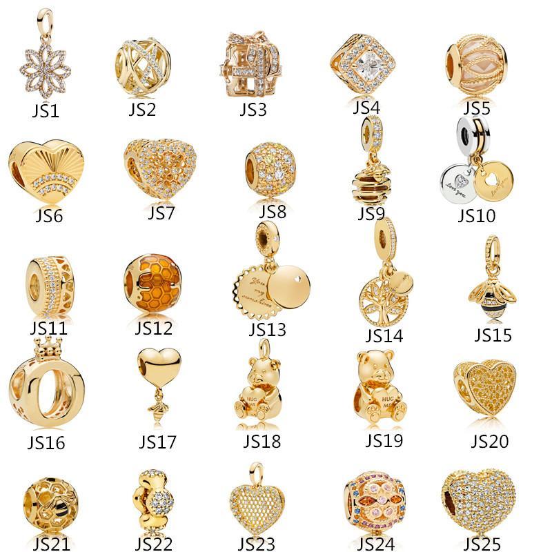 Anomokay Sterling 925 Silber Mix Stil Gold Farbe Charms Anhänger Perle Passform Pandora Armband Bester DIY Schmuck Machen Geschenk Q1106