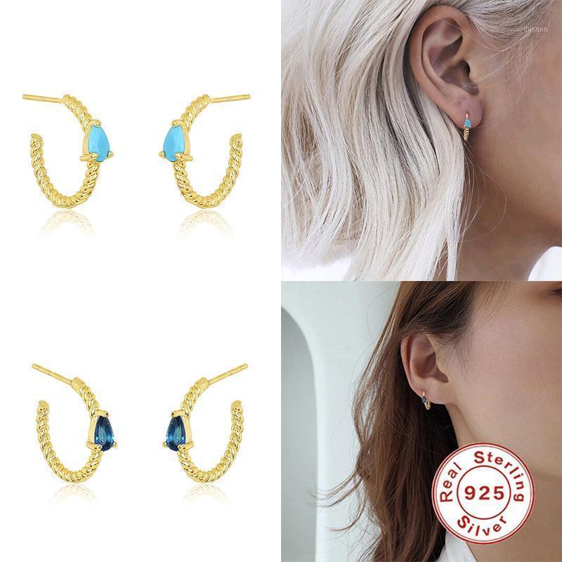 Aide 925 Sterling Silber Big Twist Creolen Ohrringe Schleife Kreis Runde Cz Kristall Ohrringe Für Frauen Punk Rock Fashion Fine Jewelry1