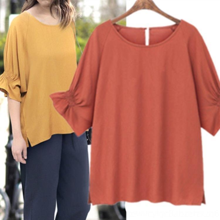 2020 algodón de las mujeres superior y sábanas de algodón de verano de ropa a mediados de cuello redondo manga 97X3T la tapa del color sólido suelto