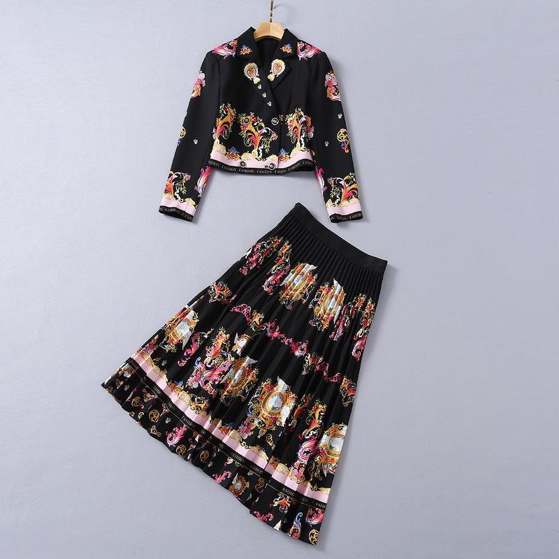 유럽 및 미국 여성의 착용 2020 겨울 새로운 스타일의 긴팔 궁전 레트로 프린트 코트 주름 치마 패션 정장