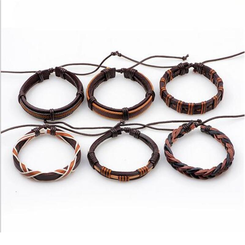 6pcs / Set Bracelet en cuir de mode pour hommes Brown Braid MultiLayer Corde Bracelets Bracelets Mâle Pulseira Masculina Jllixv