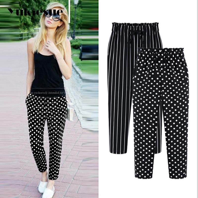 L-5XL Plus Size Casual Women Trousers Ankle-Length Pants Fashion Dot Print Chiffon Summer Striped Harem Pants Extra Large 201111