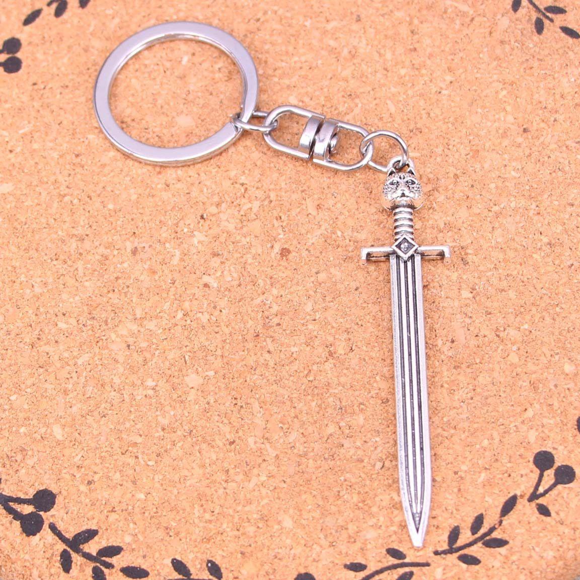 Mode Keychain 66 * 15mm épée chat Pendentifs bricolage Bijoux voiture Porte-clés Anneau Porte-souvenir pour cadeau