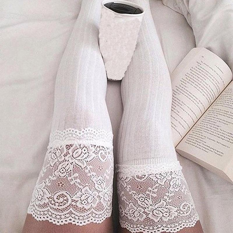 Frauen warmer Oberschenkel hoch über den Kniesocken Lange Baumwolle Lace Up Media Sexy Strümpfe