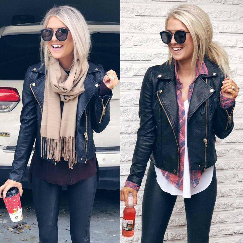 Ladies PU Leather Jacket Brasão vôo Zip Up motociclista Casual 2020 Mulheres da Moda de Nova Tops Outwear