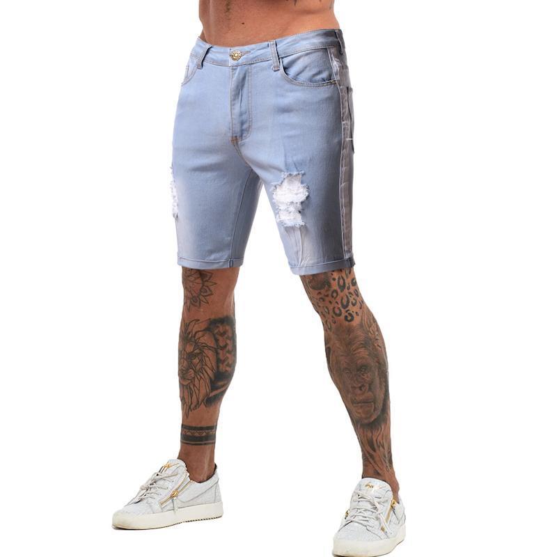 Jeans Hommes Nouveauté Mode d'été occasionnel Couleur européenne Couleur Solide Patchwork Trous Slim Hommes Jean Shorts