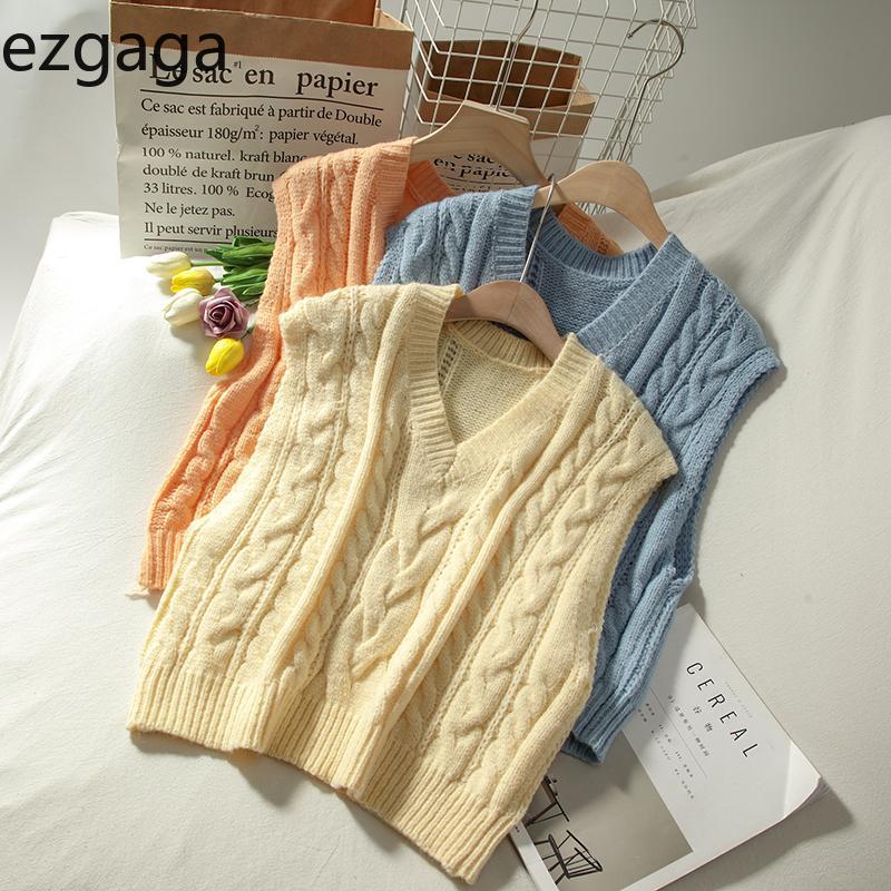 Ezgaga Vintage Triko Yelek Kadınlar Sonbahar Yeni Twist Kolsuz Preppy Stil Katı Bayanlar Yelek All-Match moda Tops