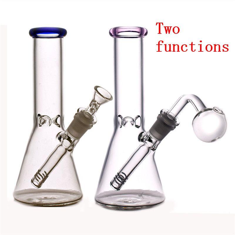 Glas Wasser Bong Rosa DAB Öl Rig Bubbler Dicke Becherbecher Mini Glas Rauchen Wasserleitung mit 14mm männlichen Ölbrenner Rohr und Dazemaschine