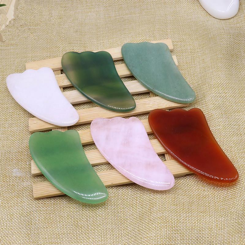 Natural Jade Stone Guasa Board Rosa Quartzo Verde Ágata Dongling Jade Guasha Raspador Massager Gua Sha Ferramentas RRA3752