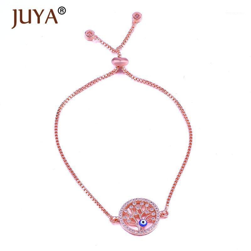 Popular Trendy Enamel Blue Eye Lucky Tree of Life Bracelet Simple Charm Chain Bracelets For Women gift bracelet femme Bijoux1