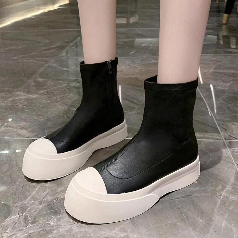 Chunky Ankle Boots Women Platform Boots Winter Shoes Pu Leather Thick Sole Round Toe 2020 Woman Booties Zapatos Mujer #5c7m