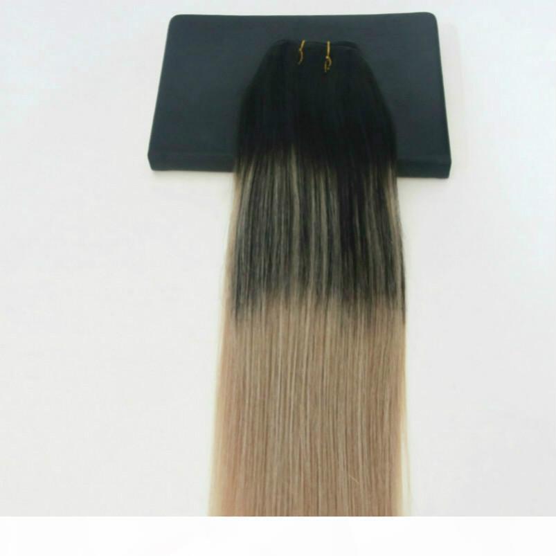 Человеческие волосы плетение оммре краситель цвет бразильских волос девственницы уток уток расширений баллы два тон 1b # на # 18 подчеркивает волосы