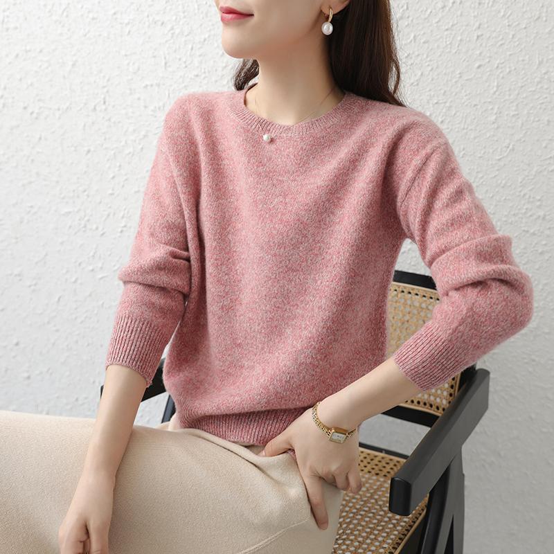Лучшее качество Красочный пряжи Вязание Свитера Женщины 100% мериносовой шерсти зимы Толстые Теплый Oneck пуловеры Женский 4Color с длинным рукавом