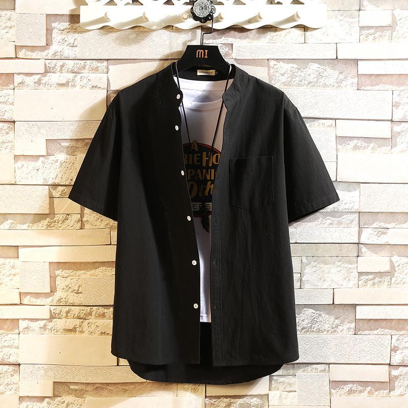 NOUVEAU MARQUE CLASSIQUE 2021 T-shirt Noir Chemise Black Homme Fashion Sleeve Casual Plus Oversize M-4XL 5XL B3SZ