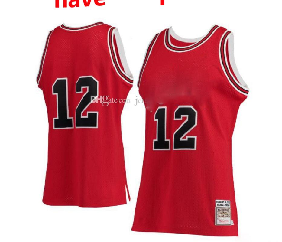 Homens 12 Michael Mitchell Ness Red Hardwoods Classics # 12 Jersey Authentic S-6XL