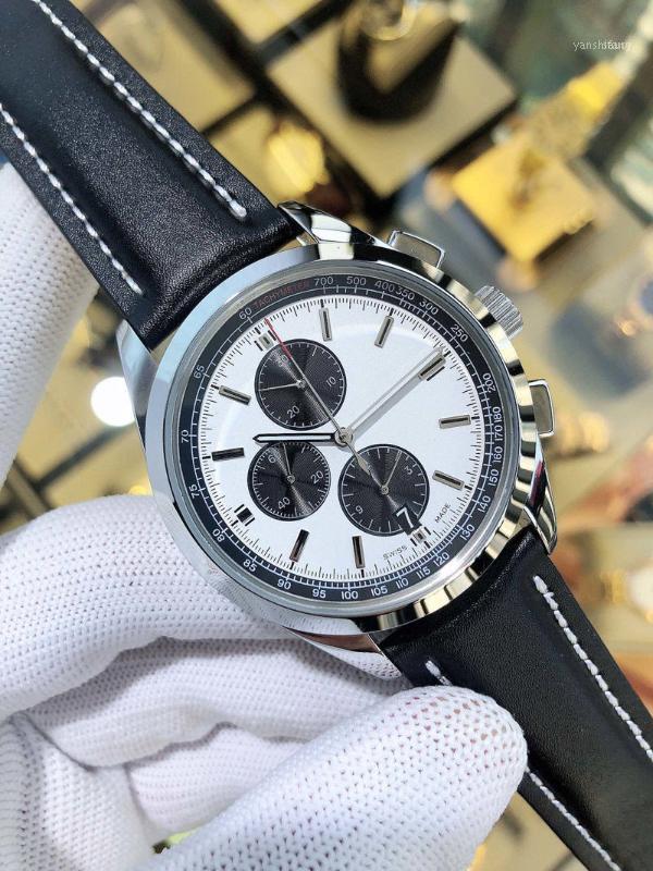 Relógios de pulso homens assistem movimento de quartzo 43mm * 13mm 316L pulseira de couro de aço inoxidável luxo fivela original multifuncionais11