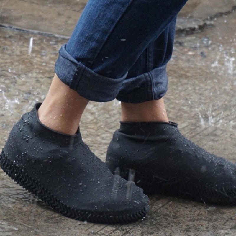 1 par reutilizável impermeável borracha anti-derrapante Chuva sapato cobre Elasticidade galocha Bota Galochas para viajar Praia EJ5h #