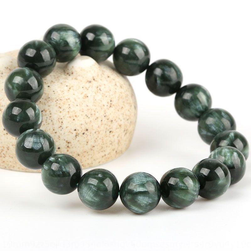VqyYG Mingyuan takı doğal Ejderha renk kristal 9AWbr siyah yeşil ejderha klorit etkisi Yeşil ölçekli Kristal Bileklik bilezik